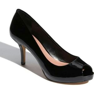 "VINCE CAMUTO ""Kira"" Patent Leather Peep Toe Pumps."